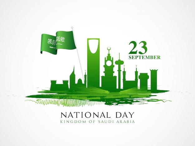 23 september nationale feestdag van de viering van saoedi-arabië Premium Vector