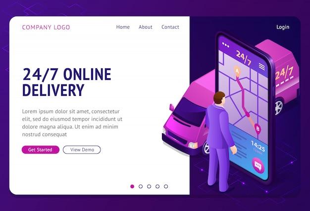 24 7 online levering vector banner Gratis Vector