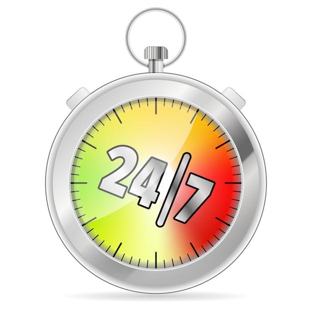 24/7 timerconcept Premium Vector