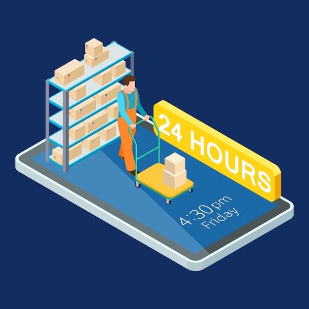 24 uur levering online diensten isometrische illustratie Premium Vector