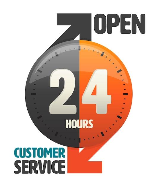 24 uur open klantenservice pictogram Premium Vector
