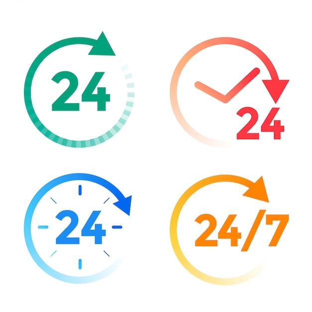 24 uur per dag dienst pictogrammen instellen Gratis Vector
