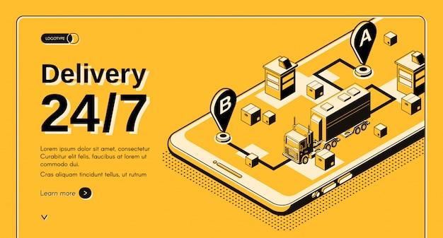 24 uur per dag vrachtvervoersbedrijf, lijndienst isometrische vectorwebbanner Gratis Vector