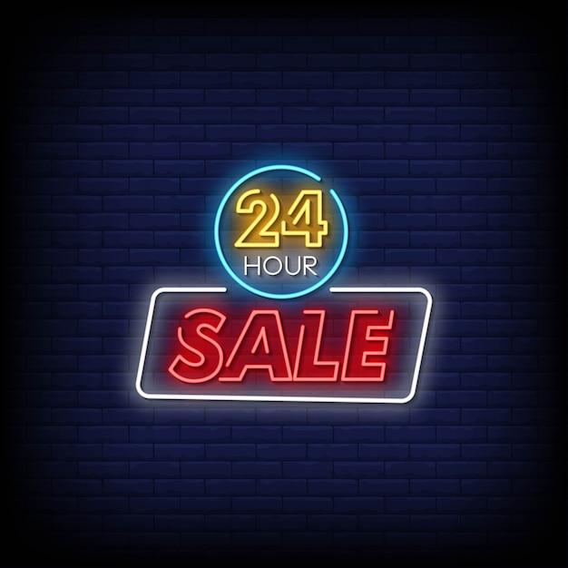 24-uurs verkoop neonreclames Premium Vector
