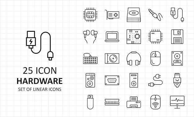25 hardware icon sheet pixel perfecte pictogrammen Premium Vector