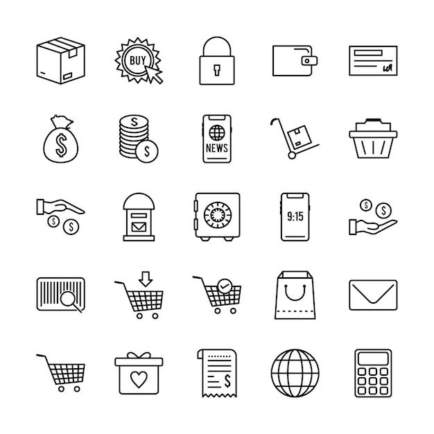 25 icon set van e-commerce Premium Vector