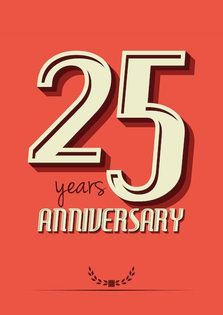 25 jaar verjaardag Premium Vector