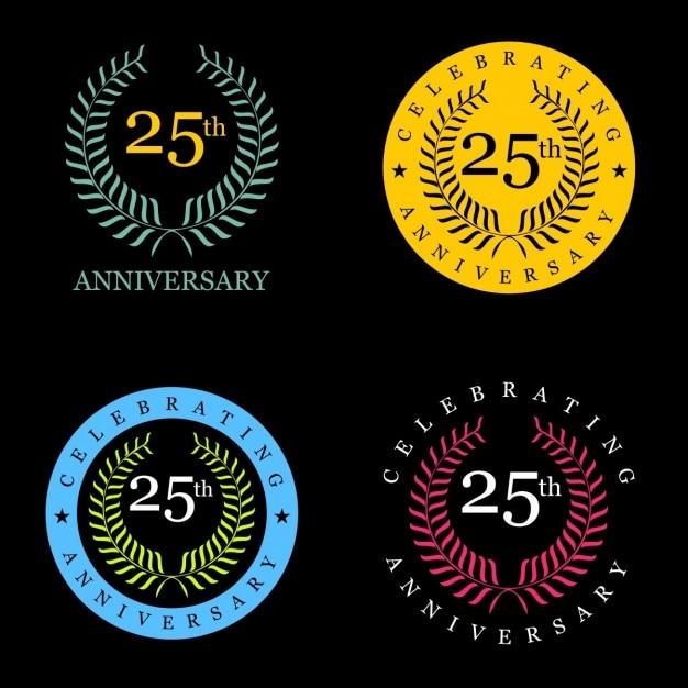 25 jaar vieren lauwerkrans Gratis Vector