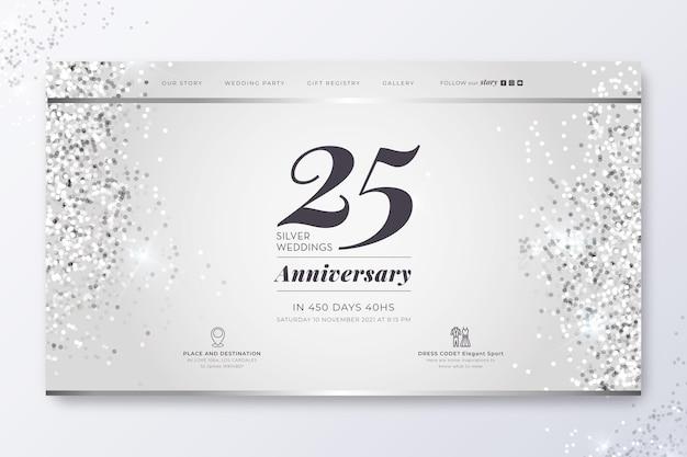 25-jarig jubileum bestemmingspagina Gratis Vector