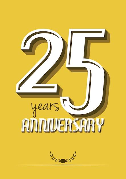 25-jarig jubileumlabel Premium Vector