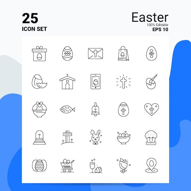 25 pasen icon set business logo concept ideeën lijn pictogram Premium Vector
