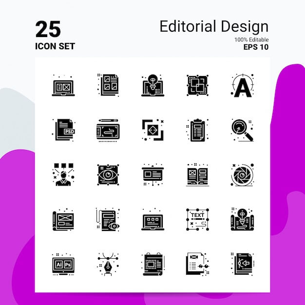 25 redactie icon set business logo conceptideeën solide glyph-pictogram Premium Vector