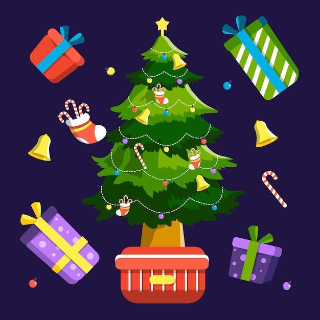 2d kerstboom met cadeautjes Gratis Vector
