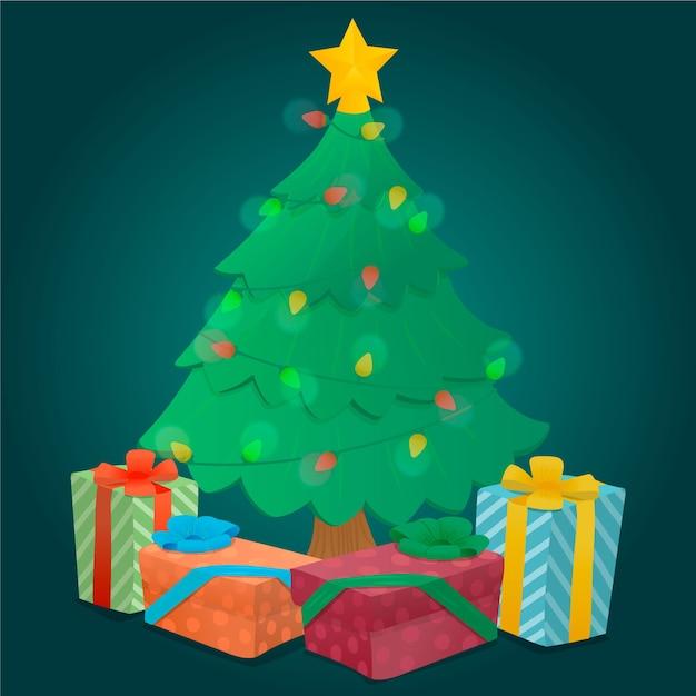 2d kerstboom met ingepakte geschenken Gratis Vector