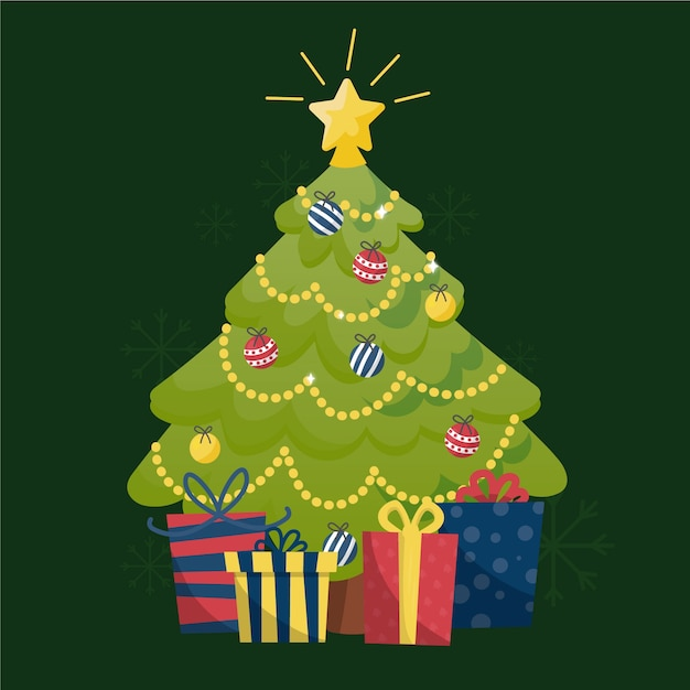 2d kerstboom met stralende ster Gratis Vector