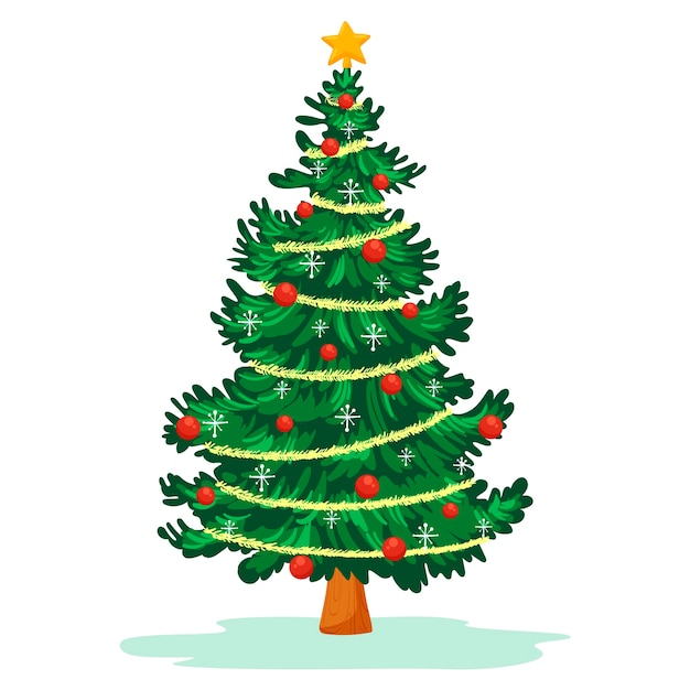 2d kerstboom Gratis Vector