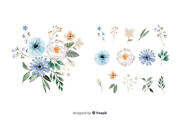 2d realistisch bloemenboeket Gratis Vector