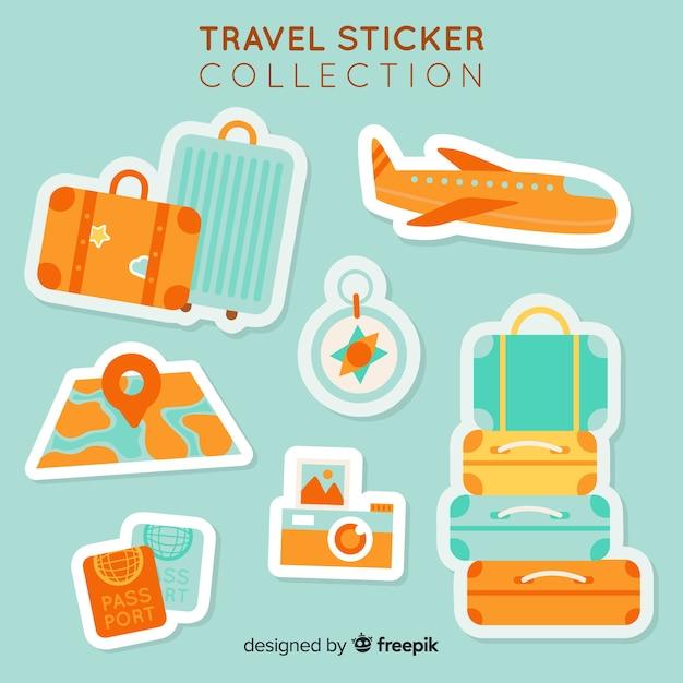 2d reizen stickers collectie Gratis Vector