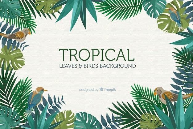 2d tropische bladeren en vogelsachtergrond Gratis Vector