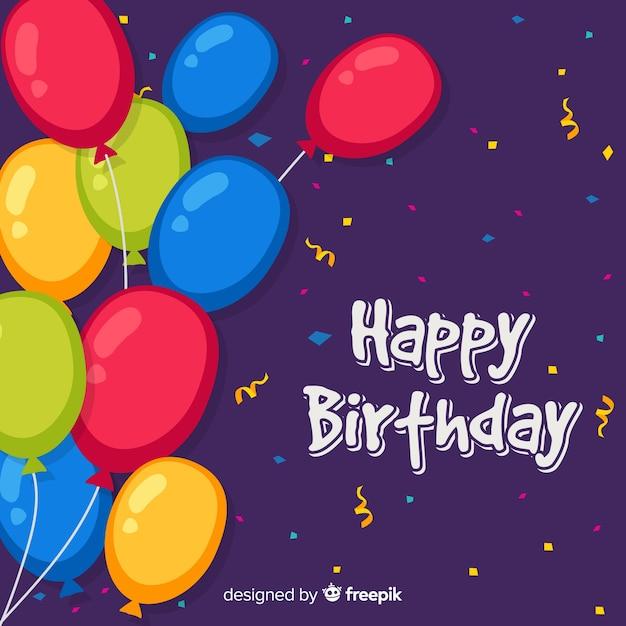 2d verjaardag met ballonsachtergrond Gratis Vector