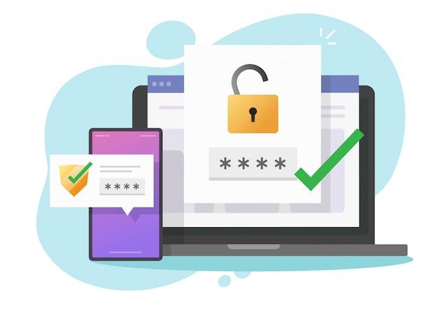 2fa authenticatie wachtwoord beveiligde melding login verificatie of sms met push code bericht schild icoon in smartphone telefoon en laptop computer pc plat Premium Vector