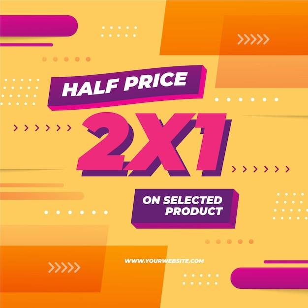2x1 promotie sjabloon banner Premium Vector