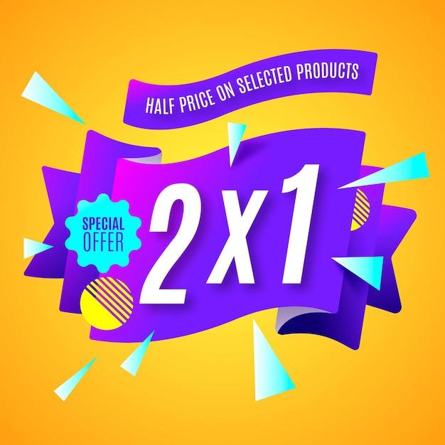 2x1 promotiebanner Premium Vector