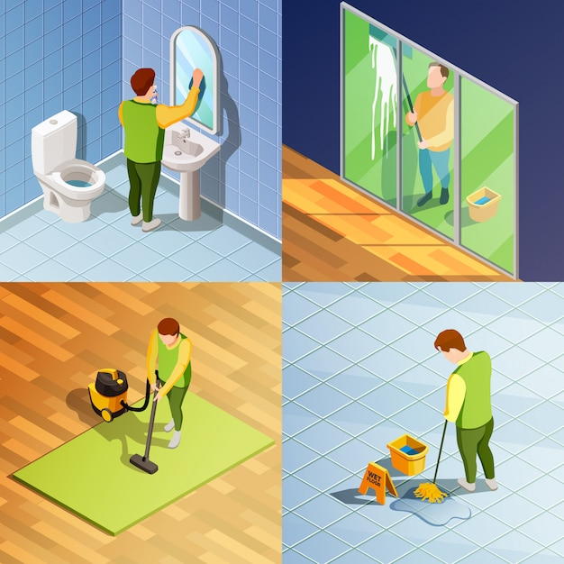 2x2 isometrisch ontwerpconcept schoonmaken Gratis Vector