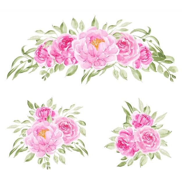3 boeketten van roze aquarel pioen bloemen Premium Vector