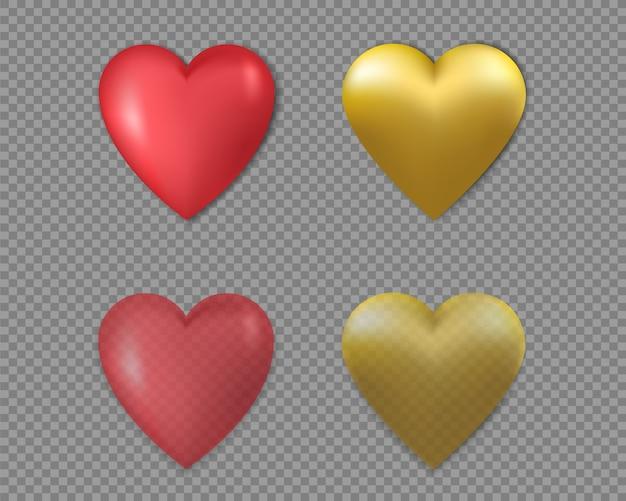 3 d gouden en rode harten Premium Vector