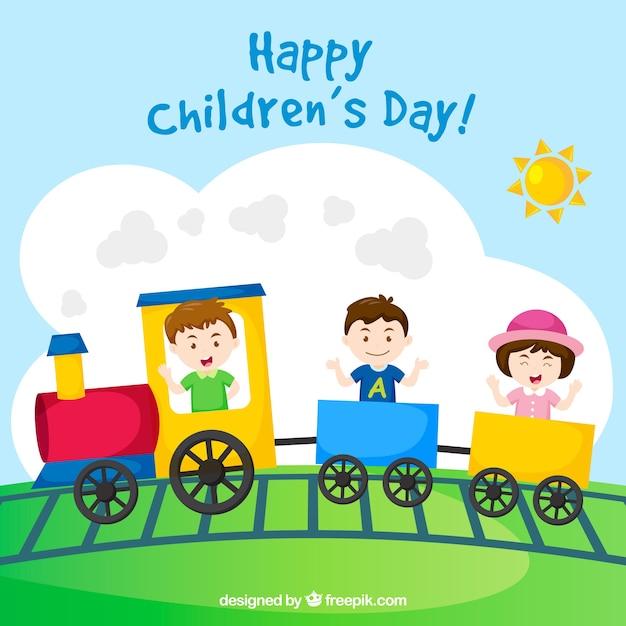 3 Kinderen Op Een Trein Gratis Vector