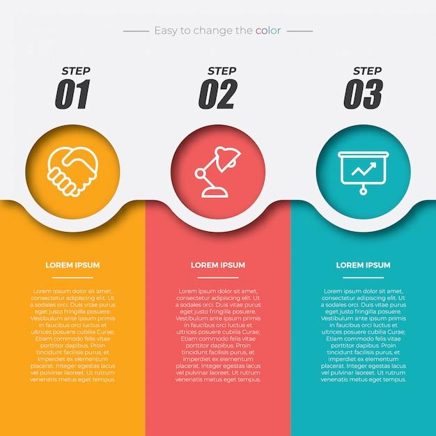 3 kleurrijke rechthoekige infographic elementen Premium Vector