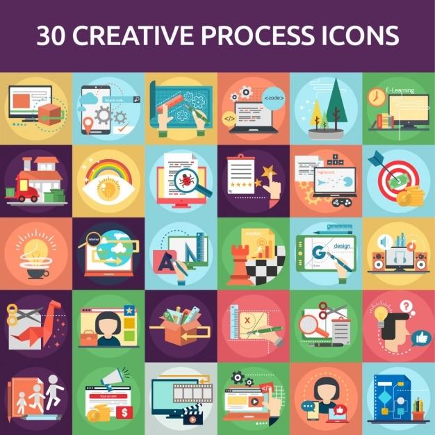30 creatieve pictogram proces Gratis Vector