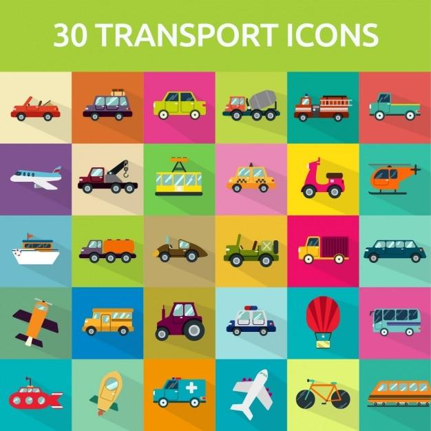 30 vervoerpictogrammen Gratis Vector