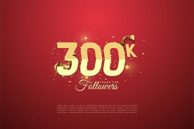 300.000 volgers met getallen en geschenkdoos illustratie. Premium Vector