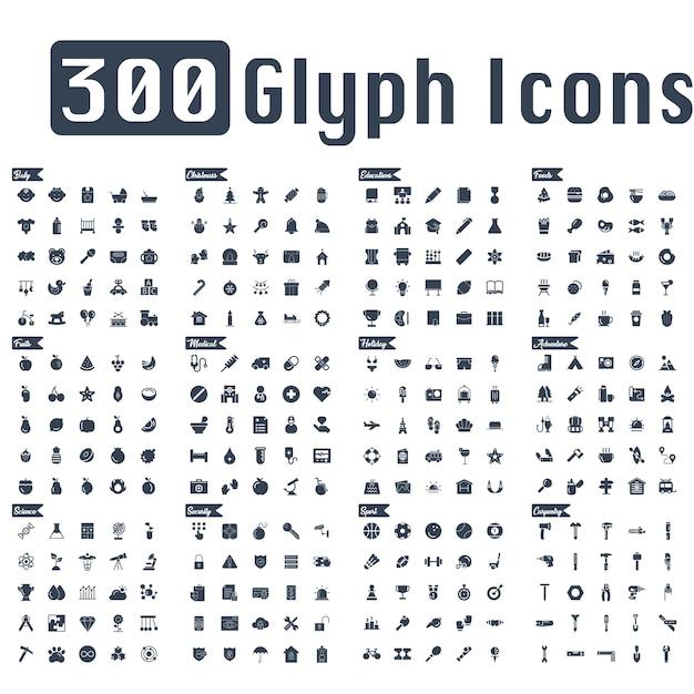 300 glyph pictogrammen vector Premium Vector