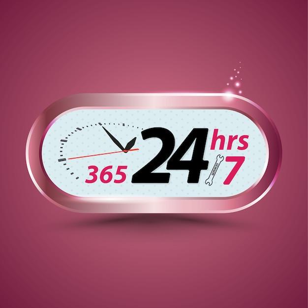 365 24 uur / 7 open klantenservice met klok Premium Vector
