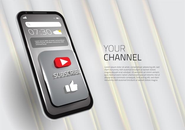 3d abonneren als sociale media van de knoop slimme mobiele telefoon Premium Vector