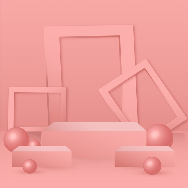 3d abstracte geometrie vorm podium voor het plaatsen van producten achtergrond Premium Vector