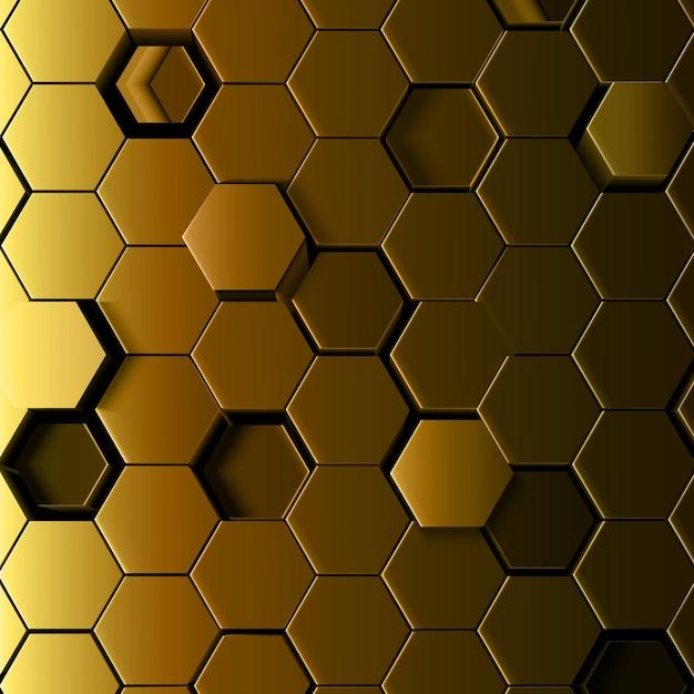 3d-abstracte gouden zeshoekige achtergrond Premium Vector