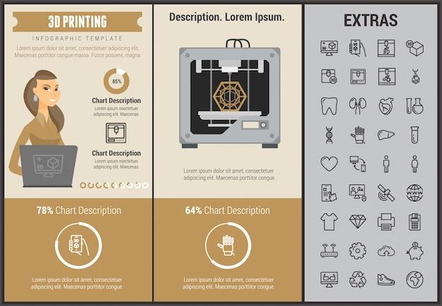 3d afdrukken infographic sjabloon en elementen Premium Vector