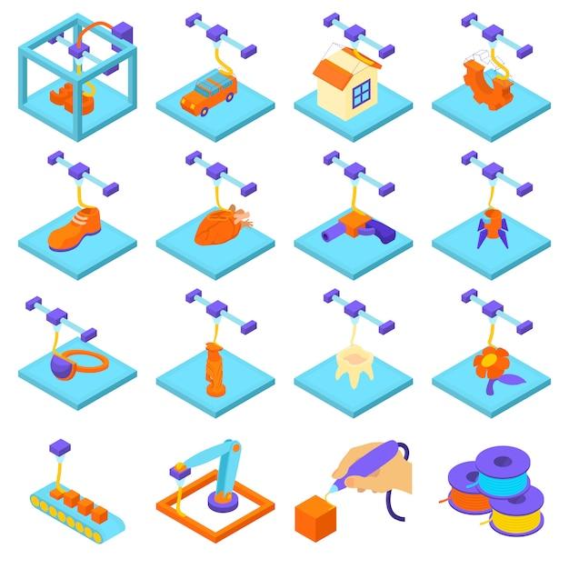 3d-afdrukken pictogrammen instellen. isometrische illustratie van 16 3d-pictogrammen afdrukken vector iconen voor web Premium Vector