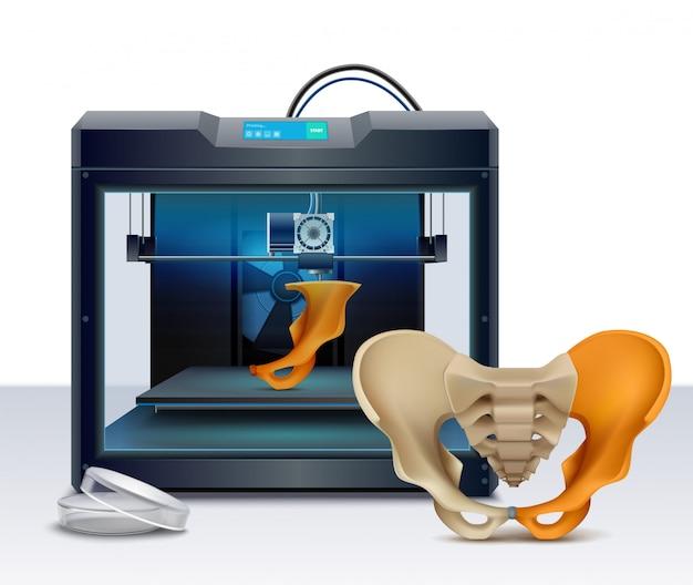 3d-afdrukken van menselijke botten realistische samenstelling vectorillustratie Gratis Vector