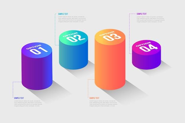 3d-balken infographic concept Gratis Vector