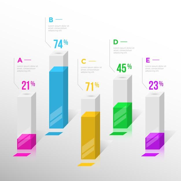 3d-balken infographic ontwerp Gratis Vector