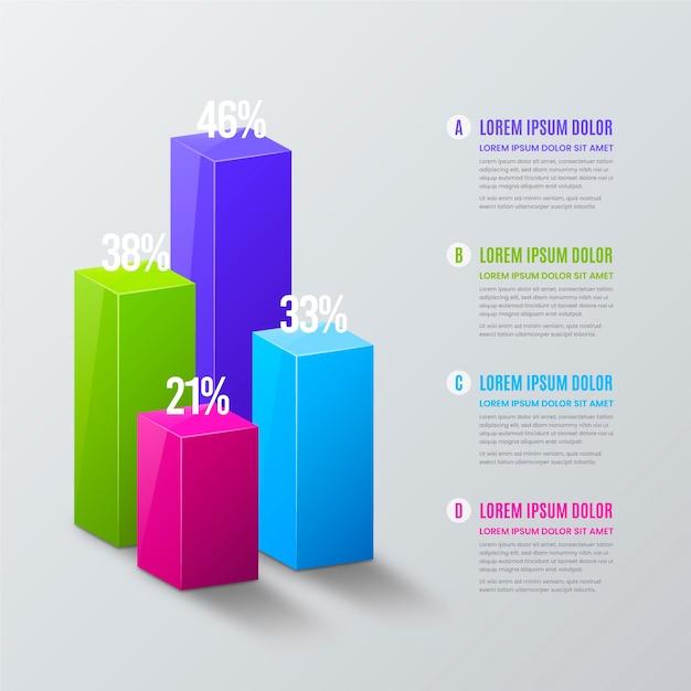 3d-balken infographic Gratis Vector