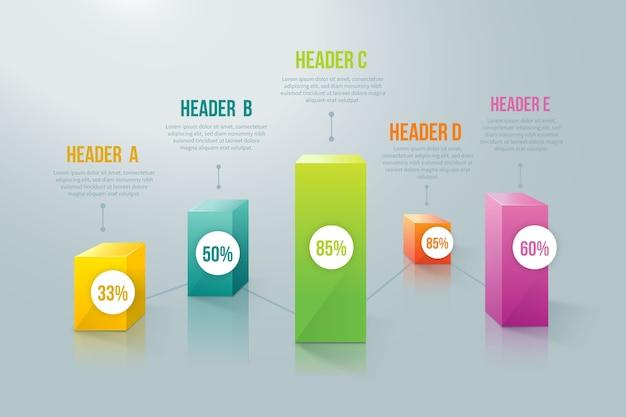 3d-balken kleurrijke infographic met percentage Gratis Vector
