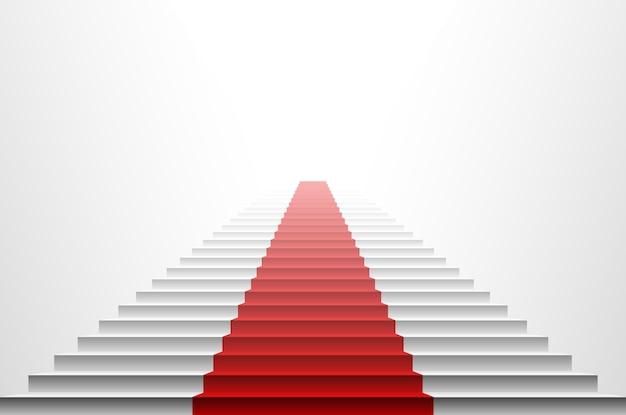 3d beeld van rood tapijt op witte trede. trap rood Premium Vector