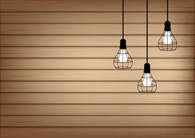 3d bespotten realistisch hout en lamp Premium Vector