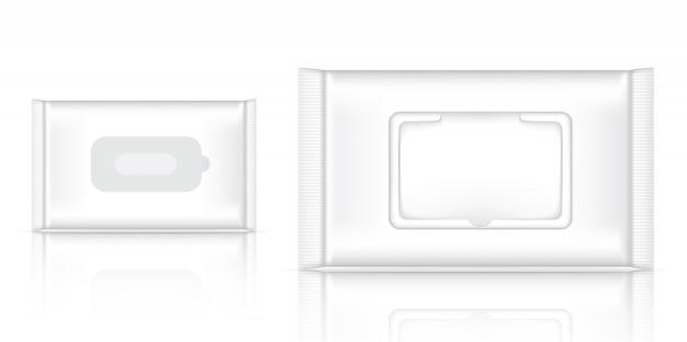 3d bespotten realistische wet wipe foil sachet-verpakking Premium Vector